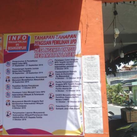PENGUMUMAN PENGISIAN PEMILIHAN ANGGOTA BPD DESA NGEMPLAK TAHUN 2019